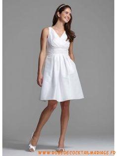 Belle robe courte 2012 blanche bretelles col en V robe de mariée satin Robe  De Mariée 6bd6054449a7