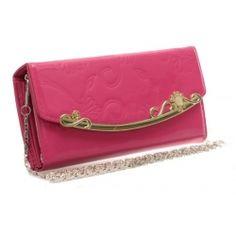Peňaženka lakovaná s retiazkou Ronie, fuchsia 14962