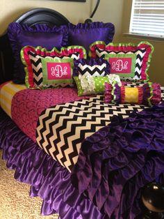 Monogrammed Mixed Design Girl's Bedding