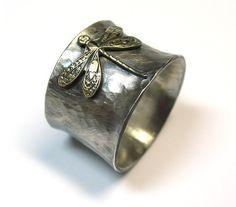 Sterlingsilber Libelle Ring Breite Band Natur Schmuck Kunst nouveau Messing Insekt - verzauberte Dragonfly