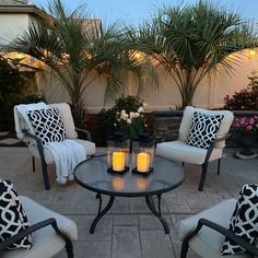 Illuminate a patio or romantic picnic spread with our modern, but classic black glass lanterns. Features a set of flameless, ivory resin candles enclosed in elegant, minimal black-brushed metal and glass. Design Patio, Backyard Patio Designs, Backyard Projects, Backyard Landscaping, Garden Design, Backyard Ideas, Landscaping Ideas, Garden Ideas, Pergola Ideas