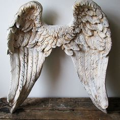 Large angel wings wall sculpture hand painted by AnitaSperoDesign