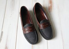 SIZE 7 Vintage BASS Leather Two Toned Penny Loafers by 601VINTAGE, $30.00