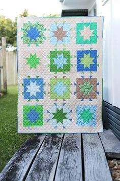 Blue and green star quilt pattern by Bonjour Quilts. In The Stars is a modern star quilt pattern available in 5 sizes: baby, throw, twin, queen and king. A fat quarter friendly quilt pattern. Star Quilt Patterns, Modern Quilt Patterns, Star Quilts, Scrappy Quilts, Baby Quilts, Quilting Projects, Quilting Designs, Traditional Quilts, Applique Quilts