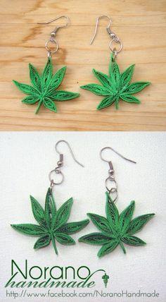Quilled Earrings - Marijuana