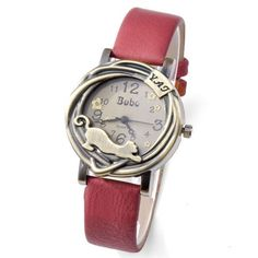 Red Vintage Wristwatch www.catobsession.com