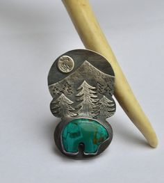Turquoise Bear and Mountain at Night Sterling Silver Ring.  Size 7 by Degenhartdesigns on Etsy