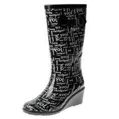 @Overstock - An allover 'Love' print adorns the exterior of these trendy rain boots from Henry Ferrera. These whimsical boots are complete with a 2.5 inch wedge heel.http://www.overstock.com/Clothing-Shoes/Henry-Ferrera-Womens-Rubber-Love-Wedge-heel-Rain-Boots/7559347/product.html?CID=214117 $48.99