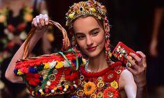 Pom Pom hand bag & dress by Dolce & Gabbana SS2016.  Shop our Sicily Bags and spread the Pom Pom love. sicilybag.com