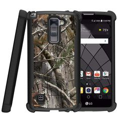LG Stylus 2 Plus Case, Shockwave Armor Heavy Duty Kickstand Defender Case - Tree Bark Hunter Camo