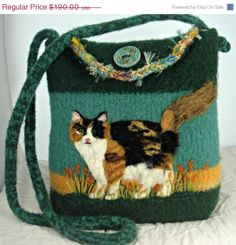 Hey, I found this really awesome Etsy listing at https://www.etsy.com/listing/225958604/10-off-felted-pursefelted-handbag-calico