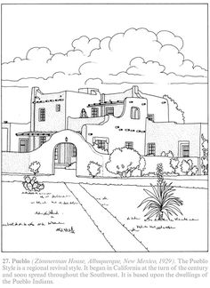 Creative Haven The American House Architecture Coloring Book By A G Smith 27 Pueblo