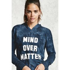 Forever21 Active Mind Over Matter Hoodie ($20) ❤ liked on Polyvore featuring tops, hoodies, tie dye hooded sweatshirt, blue hooded sweatshirt, sweatshirt hoodies, blue hoodies and blue hoodie