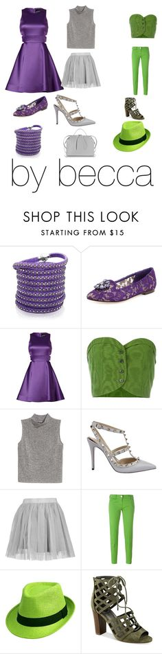 """challenge green gray and purple outfits"" by becca0416 ❤ liked on Polyvore featuring Sif Jakobs Jewellery, Dolce&Gabbana, Cynthia Rowley, Romeo Gigli, H&M, Valentino, Boohoo, Jacob Cohёn, G by Guess and Jil Sander"