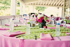 Love the table settings - pink and green. :)
