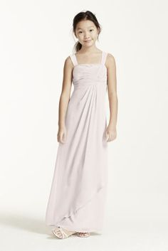 Perfect for the junior bridesmaid in your wedding party, this dress is the perfect blend of youthful fun and on trend glamour.  Tank bodice features unique beadedtwist front for added dimension.  Flowing crinkle chiffon skirt is comfortable and gorgeous.  This style features an adjustable fit for added flexibility and comfort with fewer alterations.  Fully lined. Imported. Dry clean only.