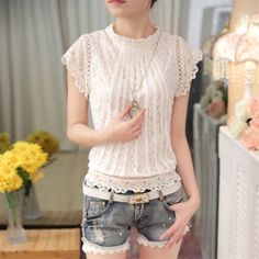 New 2016 Summer Fashion Style Women Blouses Loose Short Petal Sleeve Floral Lace Tops Chiffon O-neck Plus Size Shirt Tops 35 Plus Size Shirts, Petal Sleeve, Floral Sleeve, Floral Lace, White Lace Blouse, Women's Summer Fashion, Fashion Top, Female Fashion, Style Fashion