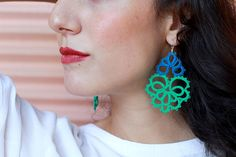 Two tone statement lace earrings A delicate pair of earrings that adds a statement to your style.Carefully handcrafted with tatting technique.Hundreds of knots are tied to form rings and chains. A bead is added one by one as the knots are tied. They are perfect for every occasion and