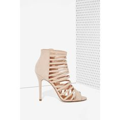 Nasty Gal Get a Grip Vegan Suede Heel ($39) ❤ liked on Polyvore featuring shoes, pumps, nude, nude peep-toe pumps, court shoes, famous footwear, nude shoes and high heel shoes