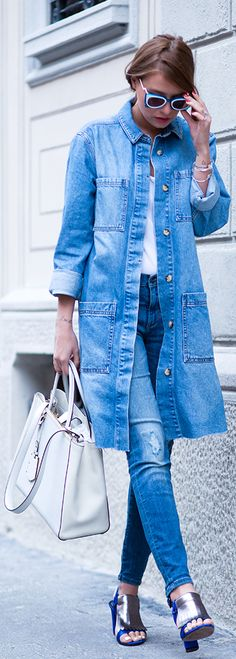 Denim On Denim Outfits: Veronica Ferraro is wearing an Asos denim coat with jeans from Banana Republic