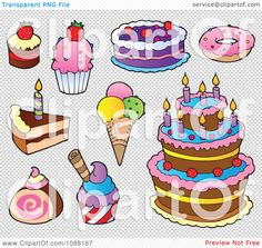 Clipart Cakes Ice Cream And Desserts - Royalty Free Vector Illustration by visekart