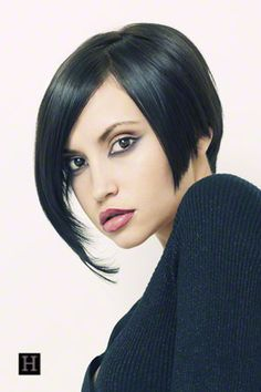 Short Hairstyles How To: This is a short asymmetrical bob hairstyle with full long swept bangs. Flat brush, flat iron, styling gel, and finish with a medium hold hair spray. Really nice makeup for the look. Perfect lipstick color.