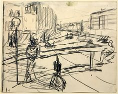 Frank Auerbach (b. 1931) : Study for Mornington Crescent  (British). This is a very expressive but exciting piece of work.  I love the lines produced and how it is so simple but at the same time is so extravagont and bold. You get a better sense of this drawing when it is further away from you. The drawing looks like it has been done while movement is present. Its exciting and sets the scene at that moment in time.