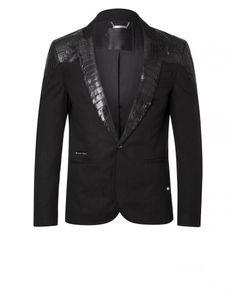 "croco blazer ""grand total"" - Leather Jackets - Jackets - Clothing - Men | Philipp Plein"