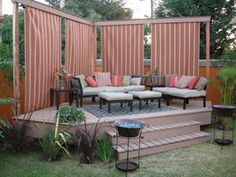 When we Are speaking about the house decor, we can't forget speaking about the Sloped Backyard Deck Ideas. Backyard -- the outdoor side of this house decor, can Sloped Backyard, Backyard Privacy, Backyard Patio, Outdoor Privacy, Porch Privacy, Nice Backyard, Privacy Curtains, Shade Ideas For Backyard, Gazebo Curtains