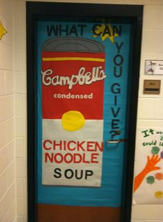 Cute food drive door decoration for your classroom door. My students helped to create it! It also generates interest in participating. Canned Food Drive, Drive Poster, Teacher Problems, School Fundraisers, Food Decoration, Thanksgiving Crafts, Cute Food, Fundraising, Food Donations