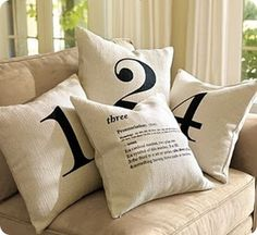 """DIY Dropcloth Number Pillows - use initials instead of numbers... or just a couple with """"M"""""""