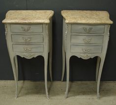 Pair of worn grey painted Louis XV style bedside cabinets from www.jasperjacks.com