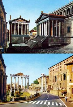 Part of the Roman forum, as it appeared in Roman times and as it is now.