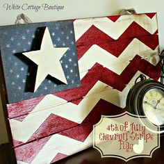 DIY- Chevron Flag Perfect for Memorial Day and July ! Nygard for our next craft day! Patriotic Crafts, Patriotic Decorations, July Crafts, Summer Crafts, Crafts To Do, Holiday Crafts, Holiday Fun, Americana Crafts, Holiday Ideas