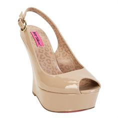 Betsey Johnson Makenna Contoured Heel Peep Toe Wedge #VonMaur #BetseyJohnson #Blush