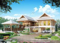 Ideas for house styles exterior traditional floor plans Thai House, Asian House, Modern Floor Plans, House Floor Plans, Style At Home, Facade Design, House Design, Exterior Design, House On Stilts