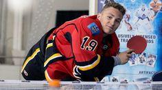 Matthew Tkachuk plays some ping pong at the NHLPA/Upper Deck rookie showcase in Toronto on Aug. Flames Hockey, Ice Hockey Teams, Hockey Players, Carolina Hurricanes, Pittsburgh Penguins, Upper Deck, Calgary, My Boys