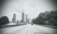 "Just a day in the ""A""... Photo taken yesterday leaving Freedom Parkway toward 75S. Good Morning!  Enjoy!  #morningpost #weloveatl #sky #discoveratl #smiles #skyporn #photos #atl #potd #driving #amazing #blackandwhite #pic #summer #atllife #comment"