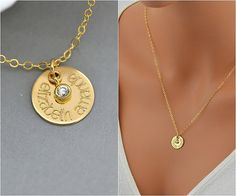 SALE 10% Name Necklace, Personalized Disc Necklace, Gold Name Disc with CZ, Gold CZ Necklace, Personalized Cz Necklace, Bridal Necklace, Wed by malizbijoux. Explore more products on http://malizbijoux.etsy.com