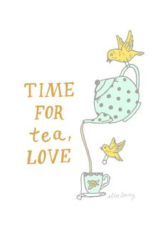 Time For Tea Art Print 5 x 7 par ellolovey sur Etsy