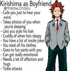 Kirishima as a boyfriend. Boku no hero academia Anime Boys, M Anime, Cute Anime Guys, My Hero Academia Shouto, My Hero Academia Episodes, Hero Academia Characters, Kirishima Eijirou, Anime Boyfriend, Boyfriend Humor