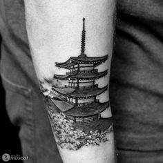 What does architecture tattoo mean? We have architecture tattoo ideas, designs, symbolism and we explain the meaning behind the tattoo. Japanese Temple Tattoo, Japanese Tattoos, Life Tattoos, Tattoos For Guys, New York Tattoo, Asian Tattoos, Samurai Tattoo, Architecture Tattoo, Tattoos Gallery