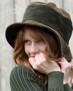 Corduroy Bucket Hat in Earthy Brown and Green by GreenTrunkDesigns