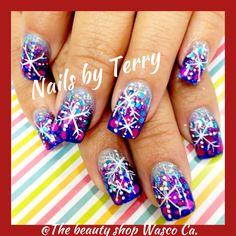 Snowflakes nails, Christmas nails