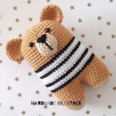 Handmade by E★: Beer Donato (NL-vertaling) Crochet For Boys, Crochet Bear, Crochet Gifts, Cute Crochet, Crochet Dolls, Amigurumi Patterns, Crochet Patterns, Handgemachtes Baby, Baby Toys