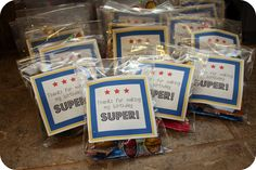 craftiness is not optional: Superhero party treats and a free printable Superhero Treats, Superhero Party Bags, Superhero Party Favors, Superhero Birthday Party, 4th Birthday Parties, Boy Birthday, Birthday Ideas, Minion Superhero, Fourth Birthday