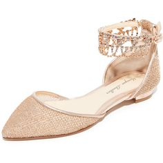 Monique Lhuillier Clarke Point Toe Flats (€335) ❤ liked on Polyvore featuring shoes, flats, rose gold, pointed toe flat shoes, ankle strap flats, ankle wrap flats, glitter shoes and ankle strap flat shoes
