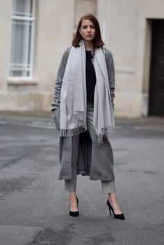 Shot From The Street   UK Fashion Blog grey trousers, black sweater, long grey cardigan, white scarf, overcoat