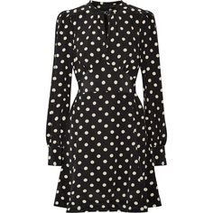 Marc Jacobs Polka-dot silk crepe de chine mini dress ($650) ❤ liked on Polyvore featuring dresses, black, polka dot print dress, marc jacobs, silk print dress, silk short dress and print mini dress