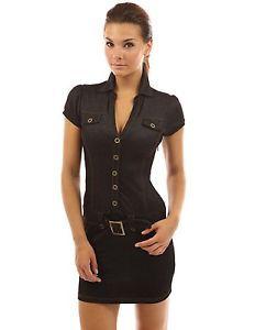 NWT-PattyBoutik-Womens-Faux-Denim-Detailed-Mini-Dress-V-Neck-Polo-BLACK-Small
